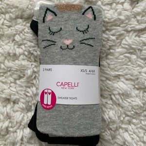 Capelli 2-pack Kitty Face & Solid Sweater Tights